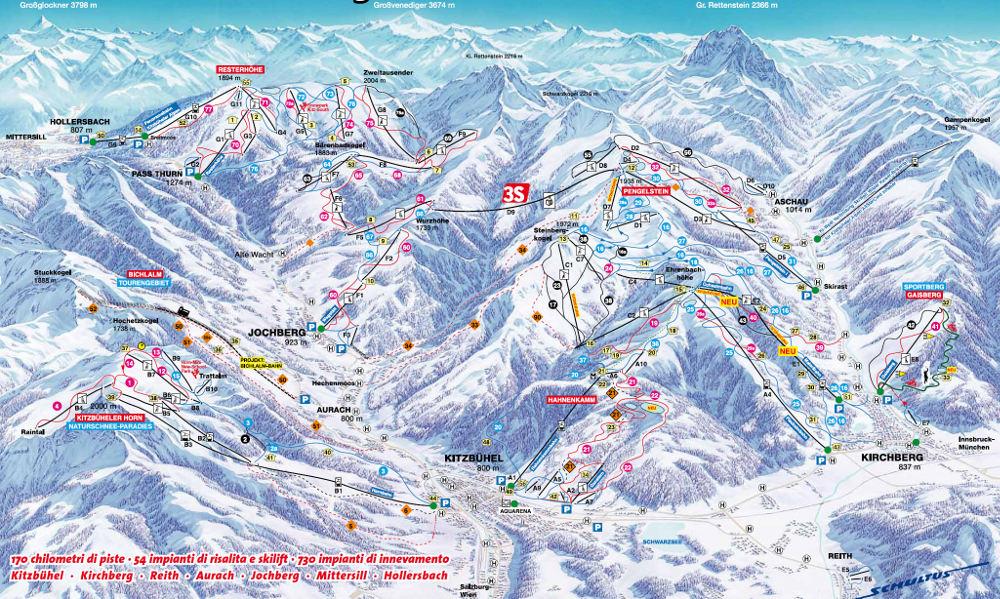 Cartina impianti e piste Kitzbuhel