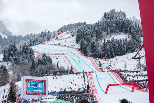 La famosa pista di sci Streif a Kitzbuhel in Austria