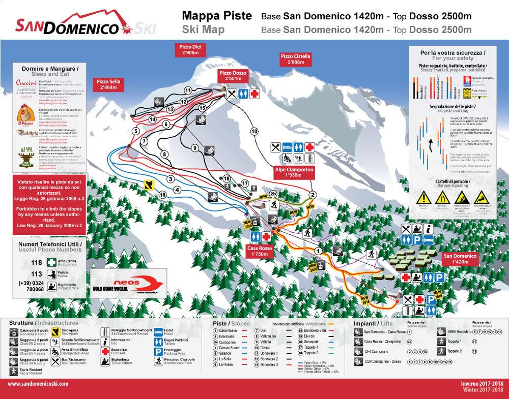 San Domenico mappa piste e cartina impianti