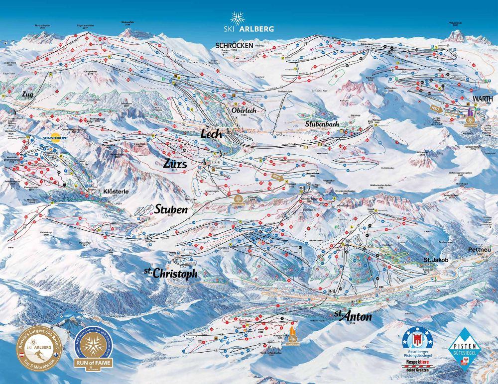 St Anton Am Arlberg mappa piste e cartina impianti