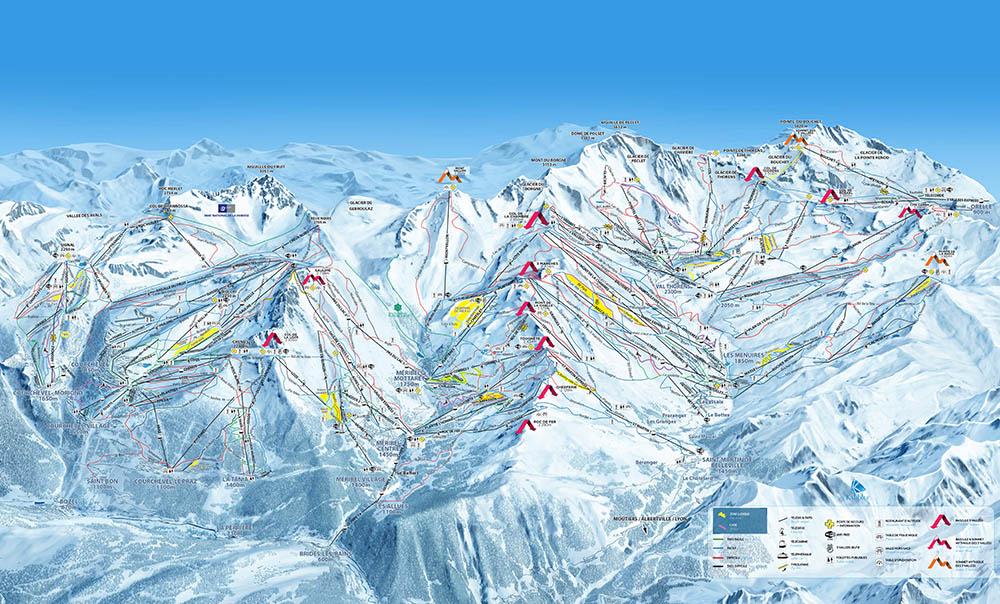 cartina impianti mappa piste sci les trois vallees