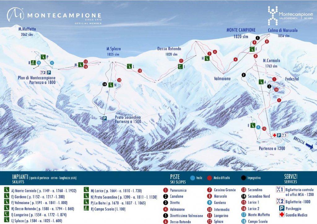 cartina impianti mappa piste sci montecampione