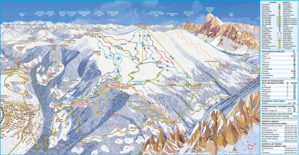 cartina impianti mappa piste sci plose bressanone