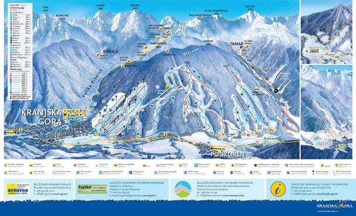 kranjska gora cartina impianti piste da sci 2018 2019