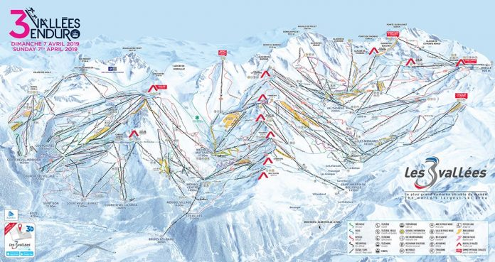 les 3 vallees cartina impianti piste da sci 2018 2019
