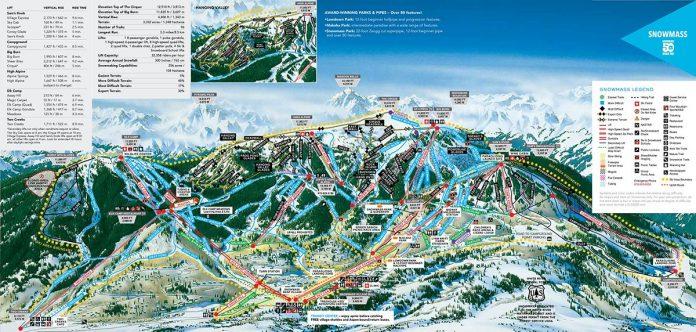 aspen snowmass cartina impianti mappa piste sci 2018