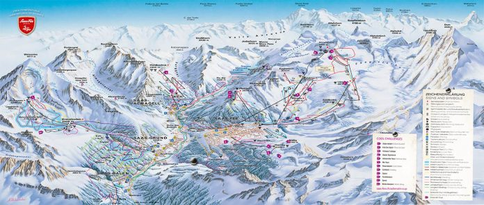 saas fee cartina impianti piste da sci 2018 2019