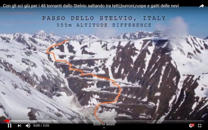 Con gli sci giù per i 48 tornanti dello Stelvio saltando tra tetti,burroni,ruspe e gatti delle nevi