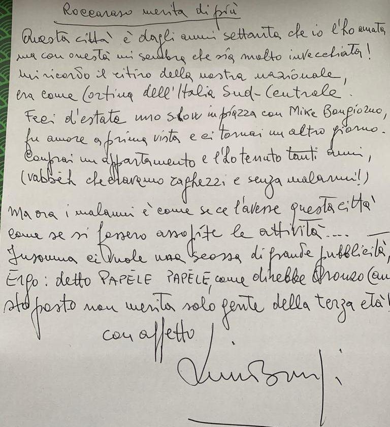 lettera poesia scritta da Lino Banfi e dedicata a Roccaraso