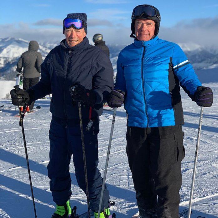 Arnold Schwarzenegger e Clint Eastwood insieme sulle piste da sci