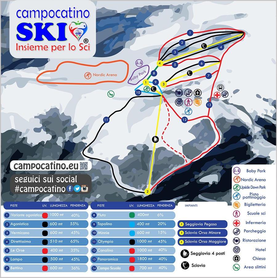 Cartina impianti e mappa piste da sci Campocatino