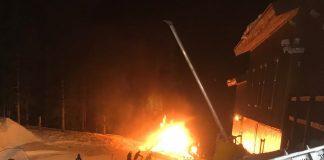 Keystone Ski Resort, gatto delle nevi in fiamme sulla pista da sci