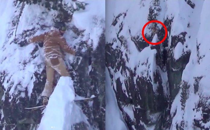 Whistler Blackcomb, snowboarder esce di pista e si salva attaccandosi alla parete del precipizio, video