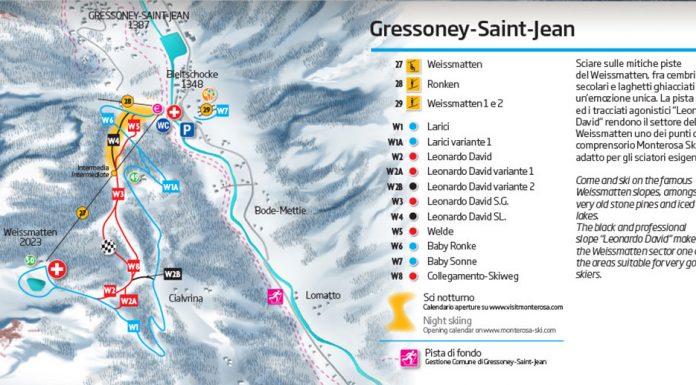 Gressoney Saint cartina impianti e mappa piste sci