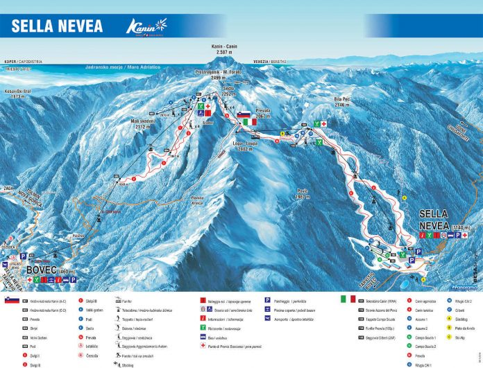 Cartina impianti Sella Nevea Bovec - Mappa piste di sci Sella Nevea Bovec