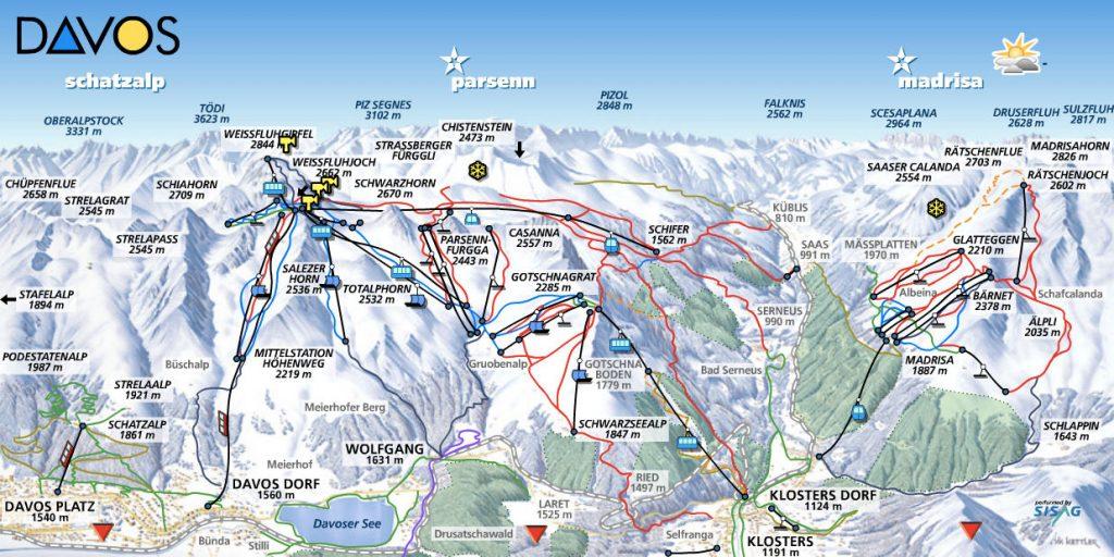Cartina Davos Klosters - Mappa piste di sci Davos Klosters